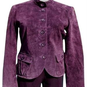 Cache Leather Suede Jacket Top NWT Eggplant
